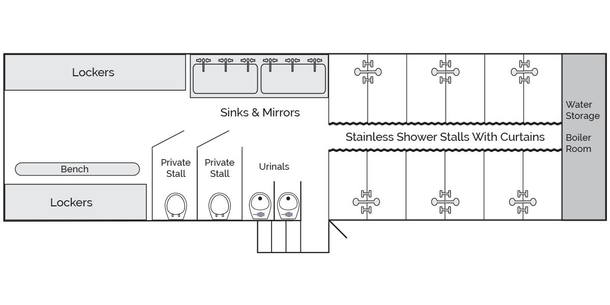 Locker Room Shower Trailer, Side Diagram