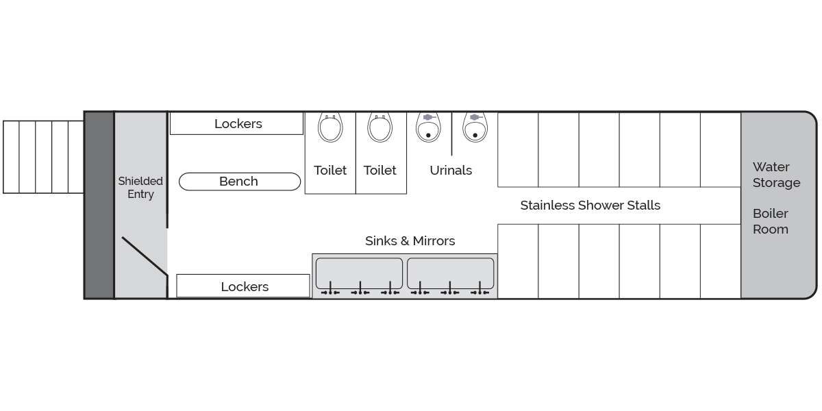 Locker Room Shower Trailer, Rear Diagram
